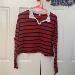 Navy and Orange/Red Striped Collared Crop Top